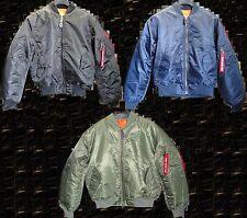 Blouson de pilote MA1 Bomber's US / USA flight jacket / vert olive, noir ou bleu