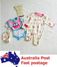 5PCS Set Toddler Baby Romper Bib Beanie  Outfits Clothing Girls Pink