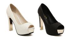 Womens Sexy Peep Toe Platform Stiletto Pumps High Heels Sandals Club Party Shoes