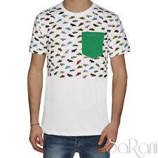 T-shirt Uomo Over-D Maglia Girocollo Bianca Mezza Manica Taschino Cotone SARANI