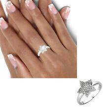 Breiter Damen Ring 925 echt Silber Zirkoniasteine großer Stern Gr. 50-62 neu