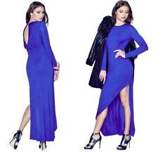 NWT $118 GUESS Long Sleeve Asymmetric Maxi Dress Desert Falls Blue S