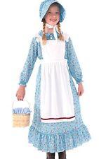 Pioneer Prairie Girl Costume Dress Childs Girls Thanksgiving Pilgrim - S, M, L -