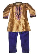 Boys' Designer Kurta Set Indian Party Suit Clothing Gold and Purple