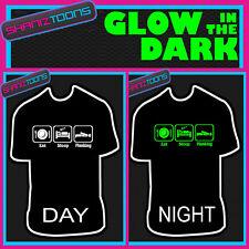Eat Sleep bordé Glow in the Dark Imprimé T-Shirt