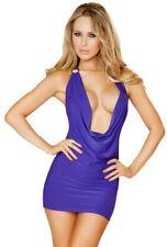 Roma purple cowl neck evening wear mini dress