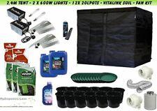 Hydroponics Complete Grow Kit Tent 2.4m 600w Light HPS Fan Vita Link Food & Soil