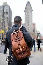 New High Quality Leather Back Pack Rucksack Men's Large Genuine Travel Bag walk
