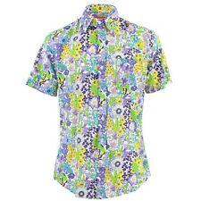 Men's Loud Shirt TAILORED FIT Floral Purple Green Retro Psychedelic Fancy