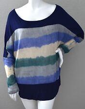 Si Avance Modern Tie-Dye Stripe Sweater Knit Inset Tunic Top Plus XL 2XL 3XL New