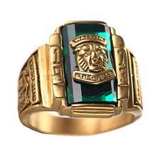 Vintage Edelstahl Tigerkopf-Siegel-muster Ring Herren Fingerschmuck - Gold Grün