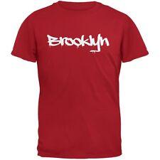 New York City Brooklyn Graffiti Red Adult T-Shirt