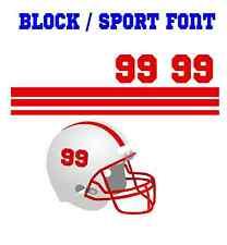 Football Helmet Stripe & Sport Block Font Number Vinyl Decal Set - Select Color