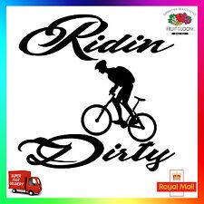 """Ridin Dirty Decalcomania Adesivo MOUNTAIN BIKE CICLISMO MTB DH XC 26 """" 29"""" PNEUMATICO CICLISMO"""