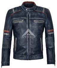 Mens Cafe Racer Jacket Biker Distressed Navy Vintage Speed Leather Jacket 2633