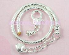 Silver Tone Plated Snake Chain Heart Charm Bracelet For European Beads NP13