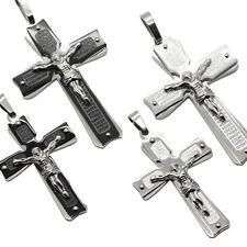 Edelstahl Kettenanhänger Kreuz Jesus Kruzifix für Königskette Halskette Schwarz