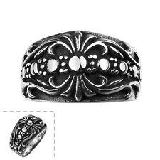 Stainless Steel Gothic Biker Tribal Ring Black Men's Unisex Cross Crown B193