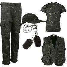 armée Garçon Costume 3-13 ANS PANTALON Débardeur Casquette Déguisement SAS Noir