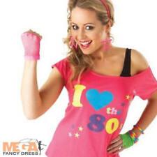 1980s Ladies I Love the 80s Pink Pop T-Shirt Fancy Dress Costume Top UK 8-16