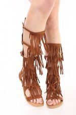 New Tan Lace Up Gladiator Sandal Open Toe Fringe Tassel Flat Heel Mid Calf