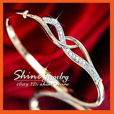 18K 2-TONE GOLD GF Infinity KISS KNOT CROSS WAVE DIAMOND DRESS STATEMENT BANGLE
