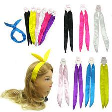 [Sweety] Satin Rabbit Ear Wire Headband Head wrap Solid Color   - US Ship