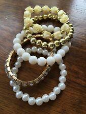 5 pieces rose elasticated beaded bracelets set plastic