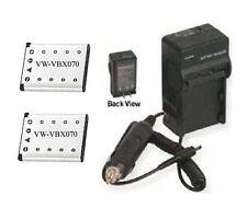TWO 2 Battery + Charger for Panasonic VW-VBX070 VW-VBX070E VW-VBX070E-W VWVBX070
