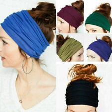 Ladies Type fabric lace Wide Stretch Headband Retro cotton scarf Black BT D B2S5