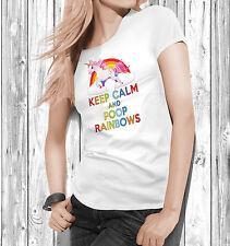 Keep Calm And Poop Rainbows T Shirt Tee Top Womens Ladies Ladyfit Magical