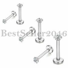 Stainless Steel CZ Labret Monroe Nose Lip Rings Studs Ear Piercings 6MM/8MM/10MM