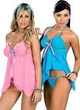 10bfe54355 7019 Mujer Sexy Azul Rosa Baby Doll Osito Ropa Interior de Encaje Tanga S M  L XL