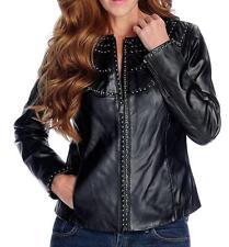 NEW  Pamela McCoy Genuine Leather Long Sleeved Stud Detailed Zip Front Jacket