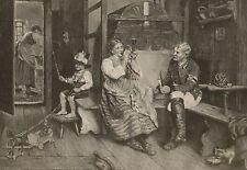 Uniform Soldier Romance Child w Pull Toy Vintage 1882 German Art Antique Print