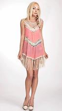 Sleeveless Tunic Crochet Fringes Dress by Umgee USA
