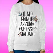 "FELPA DONNA LEGGERA SWEATER BIANCO "" PRINCIPE TATUATO "" ROAD TO HAPPINESS"