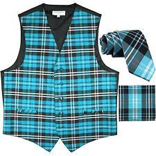 "New Men's Plaid Tuxedo Vest Waistcoat & 2.5"" Skinny Slim Necktie turquoise blue"