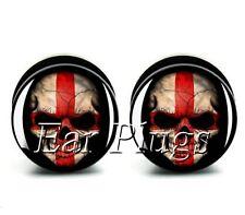 Ear Plug St George England Flag Skull Acrylic Screw Fit Flesh Tunnel 6-25mm