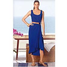 537cfadab9f New blue black high low deep scoop neck holiday maxi dress +belt
