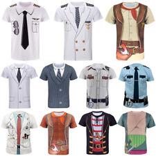 Women Men Captain Uniform Cosplay Costume Print Casual 3D T-Shirt Short Sleeve