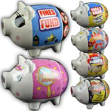 CERAMIC PIG PIGGY BANK COINS MONEY BOX SAFE SAVINGS CASH NOVELTY FUNDS NEW