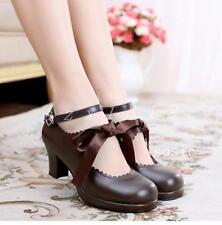 Ladies Womens Lolita Sweet Shoes Bowknot Chunky Heel Cos Princess Buckle Silk