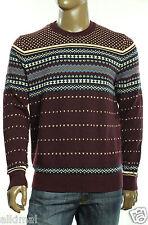 New Tommy Hilfiger Omar Fair Isle Harvard Red Pima Cotton Wool Crew Neck Sweater