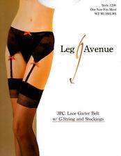 New Leg Avenue 3Pce Lace Garter Belt G-String & Stockings One Size 3 Colours