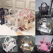 Women Clear Transparent Shoulder Jelly Candy Summer Beach Handbag Messenger Bag