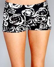 ROSES DAISY floral Black mini shorts shortie yoga boy-shorts Cotton S M L XL
