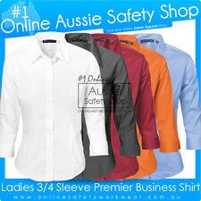 LADIES COTTON RICH PREMIER STRETCH POPLIN BUSINESS SHIRT 3/4 SLEEVE SIZES 6~26