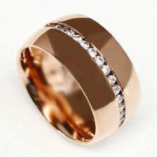 Edelstahl Ring Rosegold Bandring breiter schöner Zirkonia Damen massiver