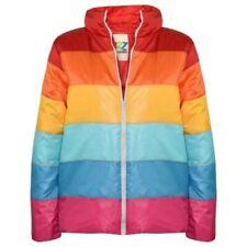 Enfants Filles Vestes Rainbow Rembourré Multicolore Bloque Doudoune Manteau 7-13